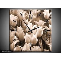 Wandklok op Canvas Tulpen | Kleur: Sepia, Bruin | F001922C