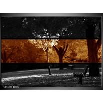 Glas schilderij Landschap | Sepia, Bruin