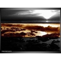 Foto canvas schilderij Zonsondergang | Sepia, Bruin