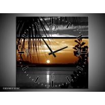 Wandklok op Canvas Zonsondergang | Kleur: Sepia, Bruin | F001983C