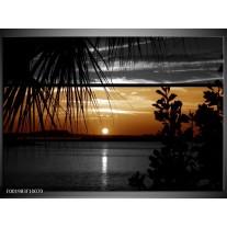Glas schilderij Zonsondergang | Sepia, Bruin