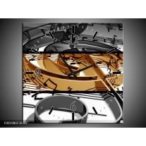 Wandklok op Canvas Muziek   Kleur: Sepia, Bruin   F001986C