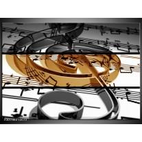 Glas schilderij Muziek | Sepia, Bruin