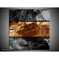 Wandklok op Canvas Abstract   Kleur: Sepia, Bruin   F001998C