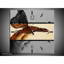 Wandklok op Canvas Vlinder   Kleur: Sepia, Bruin   F002004C