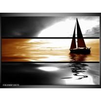 Glas schilderij Boot | Sepia, Bruin