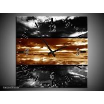 Wandklok op Canvas Zonsondergang | Kleur: Sepia, Bruin | F002015C