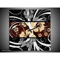 Wandklok op Canvas Abstract | Kleur: Sepia, Bruin | F002025C