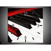 Wandklok op Canvas Piano | Kleur: Zwart, Wit, Rood | F002033C
