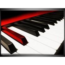 Glas schilderij Piano | Zwart, Wit, Rood