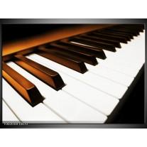 Glas schilderij Piano | Bruin, Zwart, Wit