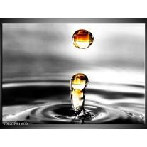 Glas schilderij Druppels | Zwart, Wit, Geel