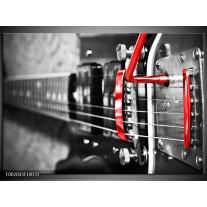 Glas schilderij Gitaar | Zwart, Grijs, Rood