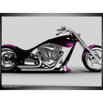 Glas schilderij Motor | Grijs, Zwart, Paars
