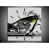 Wandklok op Canvas Motor | Kleur: Grijs, Zwart, Groen | F002045C