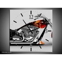 Wandklok op Canvas Motor | Kleur: Grijs, Zwart, Oranje | F002046C