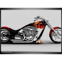 Glas schilderij Motor   Grijs, Zwart, Oranje