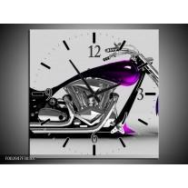 Wandklok op Canvas Motor | Kleur: Grijs, Zwart, Paars | F002047C