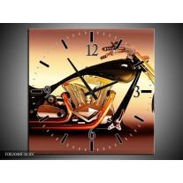 Wandklok op Canvas Motor | Kleur: Oranje, Bruin, Geel | F002048C