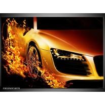 Glas schilderij Auto | Oranje, Goud, Zwart