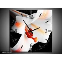 Wandklok op Canvas Bloem | Kleur: Zwart, Wit, Oranje | F002051C