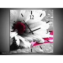 Wandklok op Canvas Bloem | Kleur: Grijs, Wit, Roze | F002053C