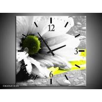 Wandklok op Canvas Bloem | Kleur: Grijs, Wit, Geel | F002054C
