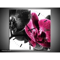 Wandklok op Canvas Orchidee | Kleur: Zwart, Wit, Roze | F002056C