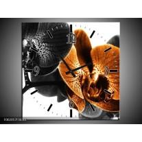 Wandklok op Canvas Orchidee | Kleur: Zwart, Wit, Oranje | F002057C