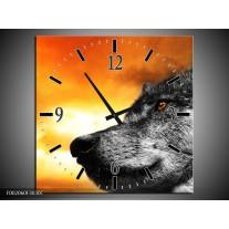 Wandklok op Canvas Wolf | Kleur: Geel, Grijs, Wit | F002060C