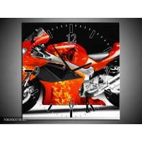 Wandklok op Canvas Motor | Kleur: Rood, Zwart, Wit | F002061C