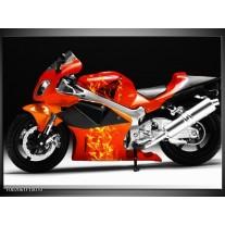 Glas schilderij Motor | Rood, Zwart, Wit