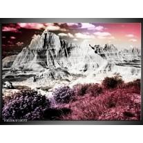 Glas schilderij Bergen | Grijs, Paars, Wit