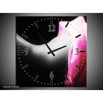Wandklok op Canvas Lichaam   Kleur: Zwart, Wit, Roze   F002067C