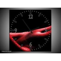 Wandklok op Canvas Vrouw | Kleur: Rood, Zwart | F002070C