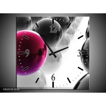 Wandklok op Canvas Ballen | Kleur: Paars, Zwart, Wit | F002074C