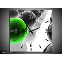 Wandklok op Canvas Ballen | Kleur: Groen, Zwart, Wit | F002075C