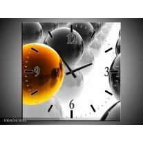 Wandklok op Canvas Ballen | Kleur: Oranje, Zwart, Wit | F002076C