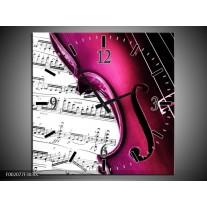 Wandklok op Canvas Instrument   Kleur: Zwart, Wit, Roze   F002077C