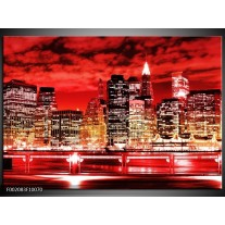 Foto canvas schilderij Gebouw | Rood, Zwart, Geel