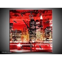 Wandklok op Canvas Gebouw | Kleur: Rood, Zwart, Geel | F002083C
