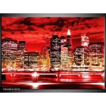 Glas schilderij Gebouw | Rood, Zwart, Geel