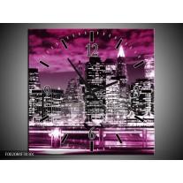 Wandklok op Canvas Gebouw | Kleur: Paars, Zwart, Wit | F002084C