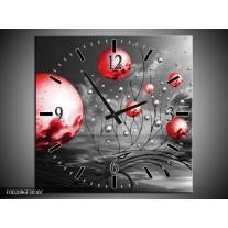 Wandklok op Canvas Ballen | Kleur: Rood, Zwart, Grijs | F002086C