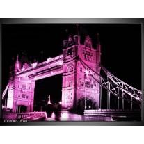 Glas schilderij London | Paars, Zwart, Wit