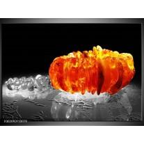 Glas schilderij Macro | Zwart, Grijs, Oranje