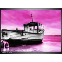 Glas schilderij Boot | Zwart, Wit, Paars
