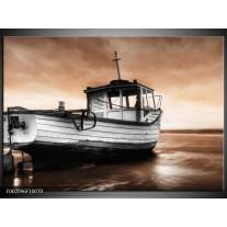 Glas schilderij Boot | Zwart, Wit, Bruin