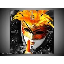 Wandklok op Canvas Masker | Kleur: Zwart, Grijs, Oranje | F002097C