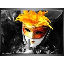 Foto canvas schilderij Masker | Zwart, Grijs, Oranje